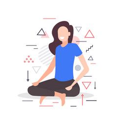 Woman sitting lotus pose girl practicing yoga vector
