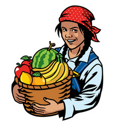 Women farmer and basket of fruits vector