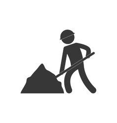 worker labor mine shovel figure pictogram vector image