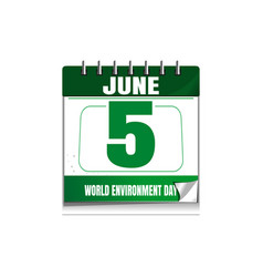 World environment day wall calendar 5 june vector