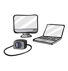 A computer a laptop and a camera vector image vector image