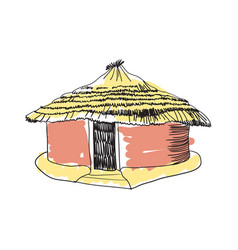 african tribal hut hand drawn icon vector image vector image
