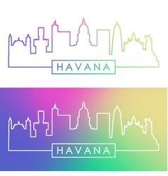 havana skyline colorful linear style editable vector image