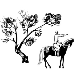 horseman under the tree vector image vector image