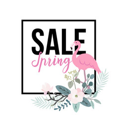 spring sale poster flamingo bird with palm leaves vector image
