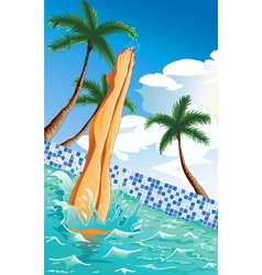 At the pool vector image