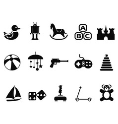 black toy icons set vector image vector image
