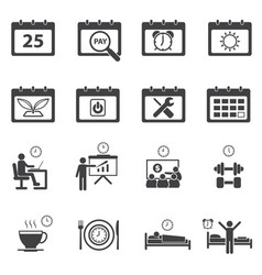 time calendar daily routine icons set vector image vector image