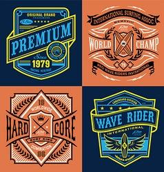 Vintage surfing t-shirt graphic set vector