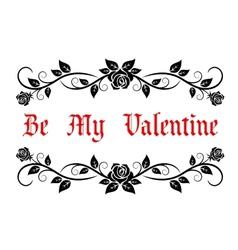 Be My Valentine header vector image