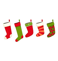 christmas stockings red green colors vector image vector image