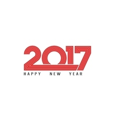 Happy New Year 2017 holiday poster red lettering vector image