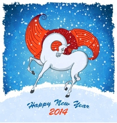 Horse on christmas card vector image
