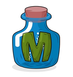 M in bottle Green letter in blue glass jar Magic vector image vector image