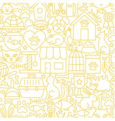 pet shop white line seamless pattern vector image