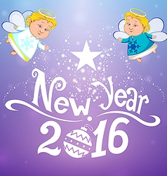 Postcard 2016 with angels vector image