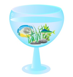 tall wine glass aquarium with fishes vector image vector image