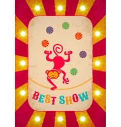 Circle poster balance monkey red vector image vector image
