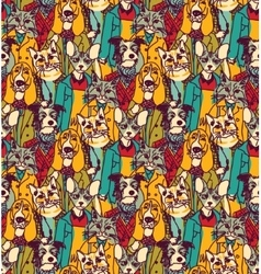 Crowd people like cats and dogs seamless pattern vector image vector image