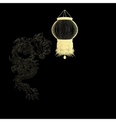 golden Chinese dragon on a black background vector image