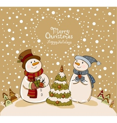 Loving couple of snowmen with gifts beside vector image vector image