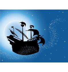 Sailing vessel in night sky vector