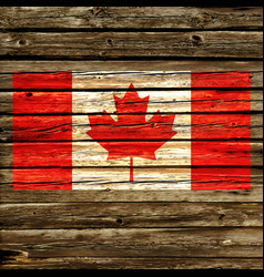 Accurate canada flag on old rustic timber wall vector