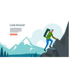 Adventure hiking mountian landscape with tourist vector