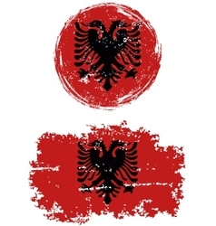 Albanian round and square grunge flags vector image