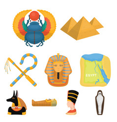 ancient egypt set icons in cartoon style big vector image