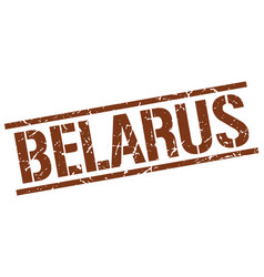 Belarus brown square stamp vector