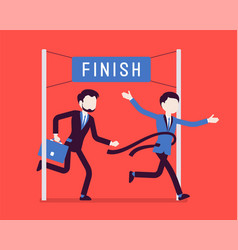businessmen at finish line vector image
