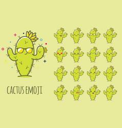 Cactus emoji sticker icon set vector
