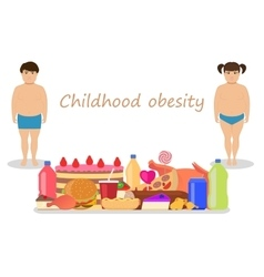 Cartoon childhood obesity Children obese vector