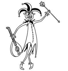 Cartoon medieval fantasy jester fool clown buffoon vector