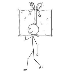 Cartoon of man or businessman carry big gift box vector