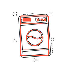 Cartoon washer icon in comic style laundress sign vector