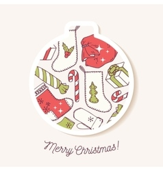 Christmas bauble sticker with christmas hand drawn vector image