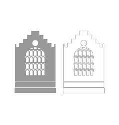 church building grey set icon vector image