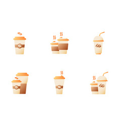 Coffee menu for take away flat color icon set vector