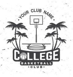 college basketball club badge vector image