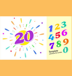 colored cartoon numbers set 1-9 digit vector image