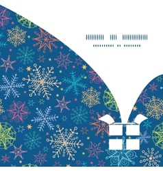 Colorful doodle snowflakes Christmas gift box vector