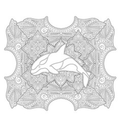 Coloring book page with white orca silhouette vector
