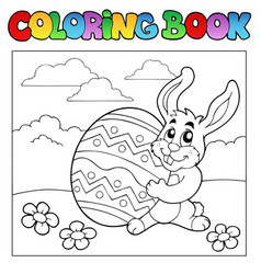 coloring book with easter theme 1 vector image