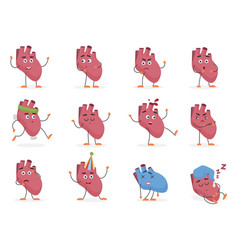 cute cartoon human heart internal organ emotions vector image