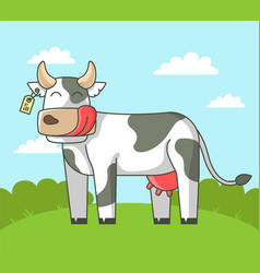 Cute cow stands on field in village vector