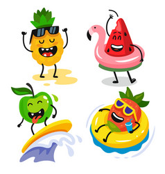 cute funny fruits relax in summer vector image