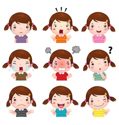 Cute girl faces showing different emotions vector
