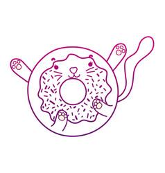 Degraded outline kawaii nice cat donut snack vector